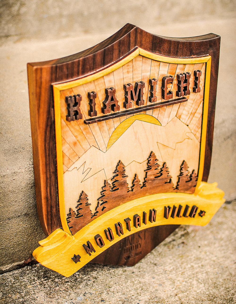 Custom laser cut, etched, and engraved dimensional sign. Made out of walnut, yellowheart, maple, and curly maple.