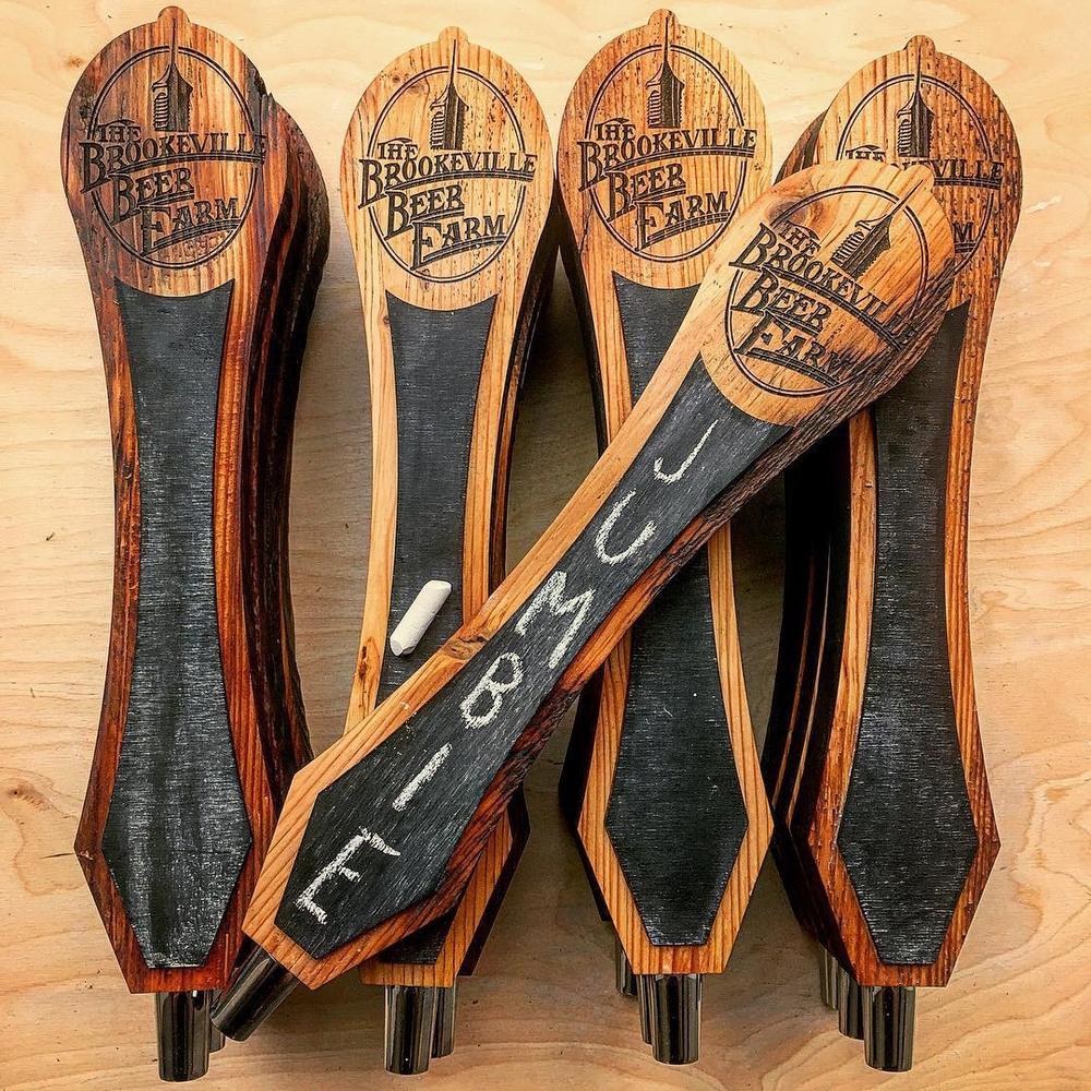 Custom reclaimed wood tap handles for Brookville Beer Farm
