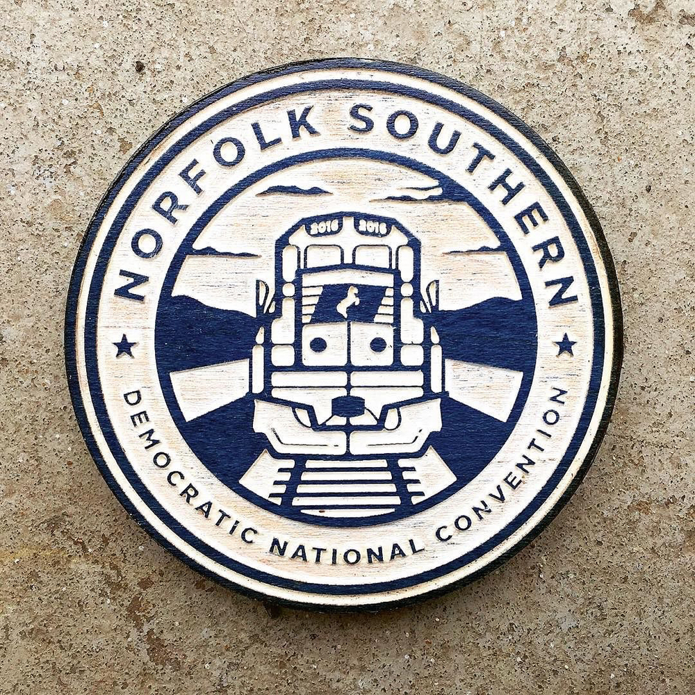 Laser engraved and color filled wooden coasters for Norfolk Southern