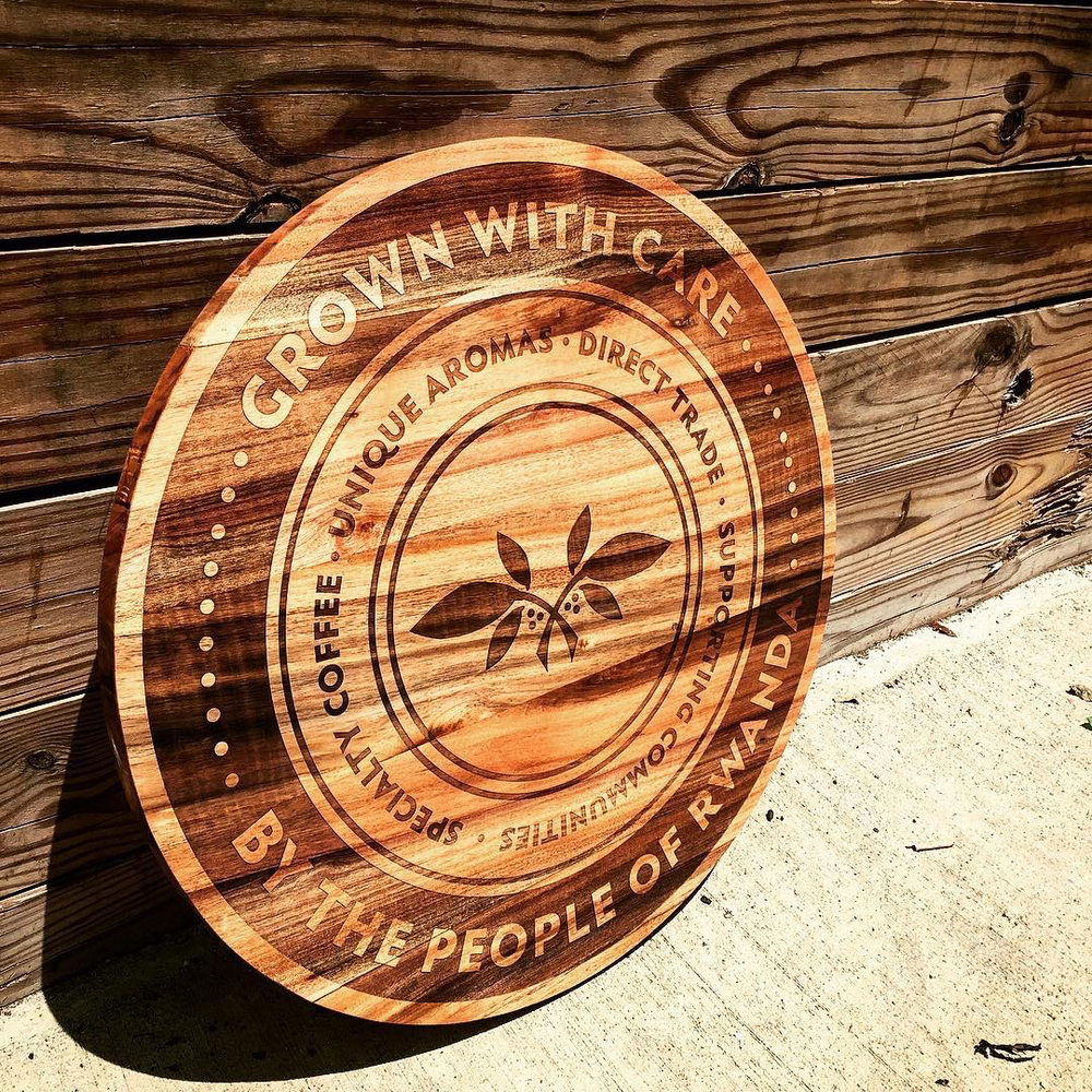 Laser engraved Acacia sign for Washington, D.C. based Bourbon Coffee.