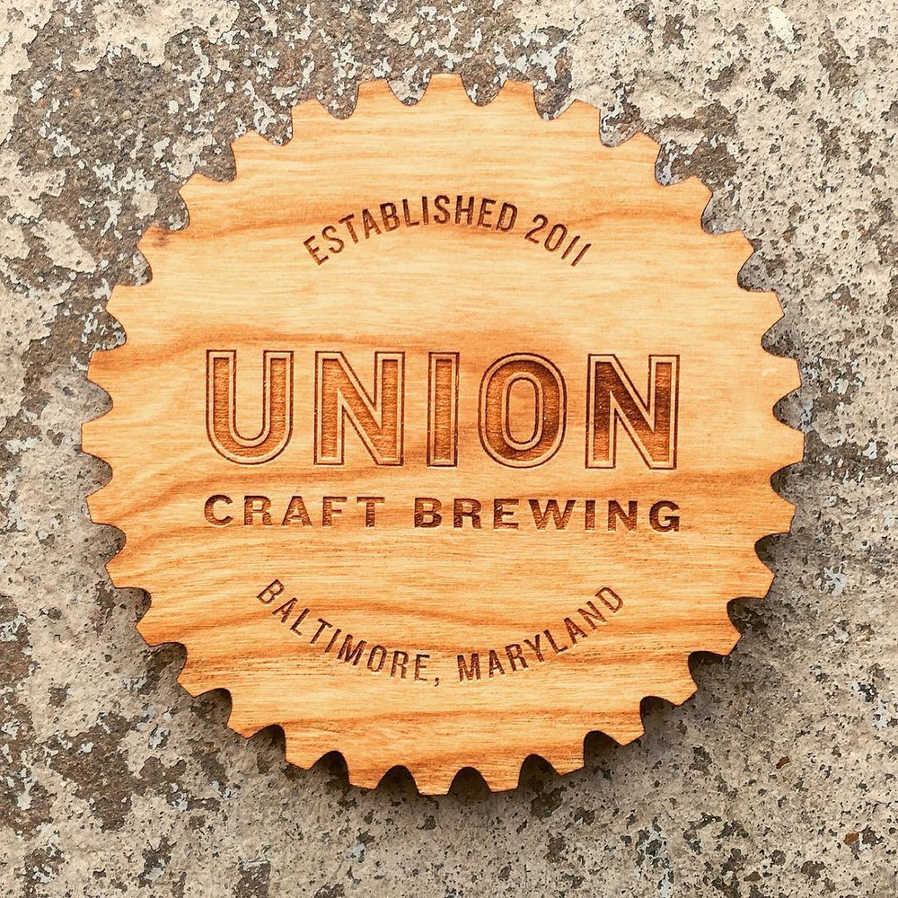 Laser engraved and laser cut drink coasters for Baltimore, Maryland based brewery, Union Craft Brewing.