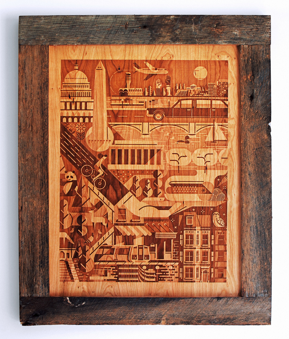 3d laser engraved illustration on cherry of Washington, D.C. landmarks by Justin Tran. Framed in a reclaimed oak.