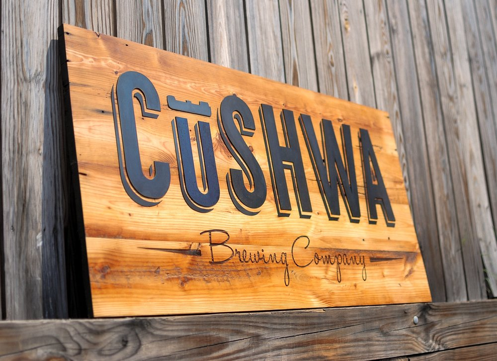 Cushwa Brewing Company laser engraved and laser cut sign on reclaimed wood.