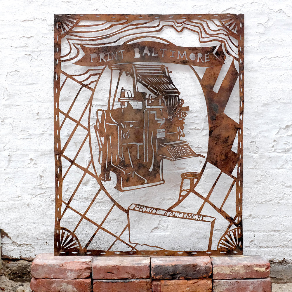 Laser cut steel with antique patina for Maryland-based paper cut artist, Annie Howe.