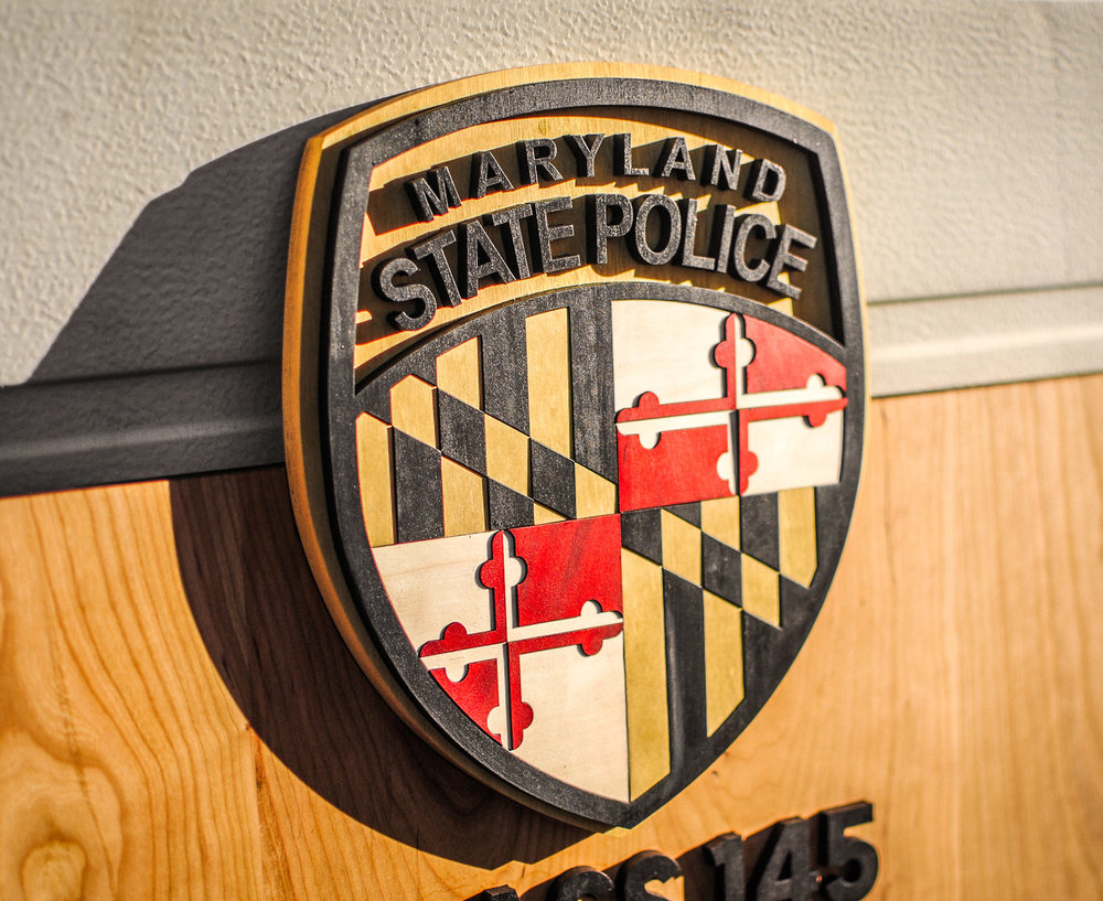 Maryland State Police Class 145 Graduation Plaque. Made from laser cut aspen, cherry, and yellow heart hardwood.