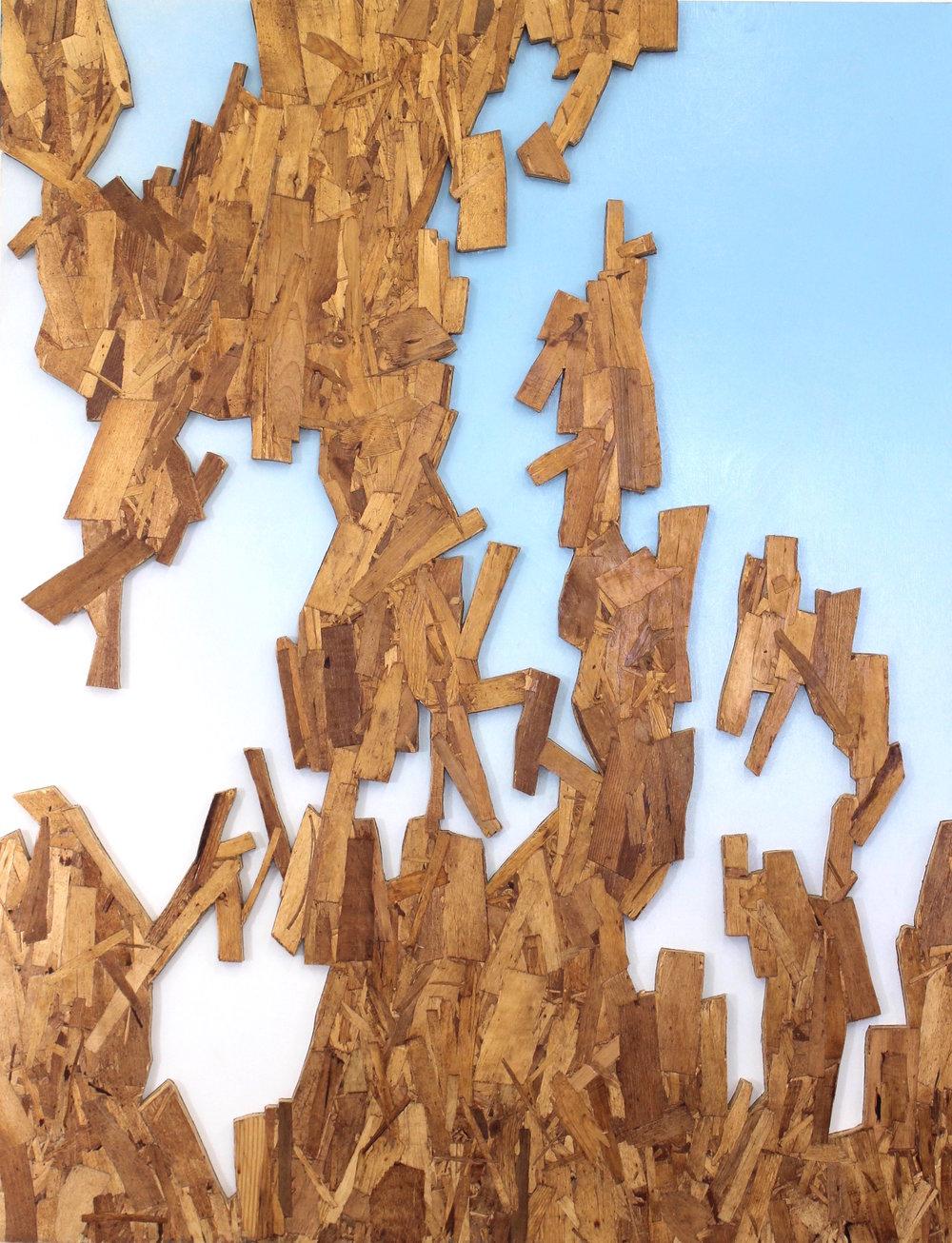 "Acceptance and Decline  OSB, plywood, enamel  48"" x 37  2016"