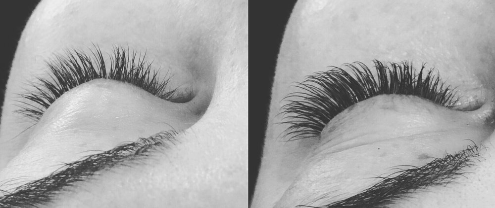 Before & After Full Set Synthetic Lash Extensions.