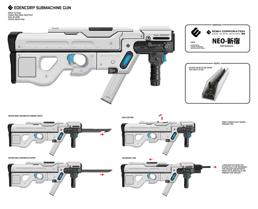 "SMG concept weapon that never made it into the game. Early on there was a big push for basic ""transformable' weapons which prompted some pretty goofy designs."