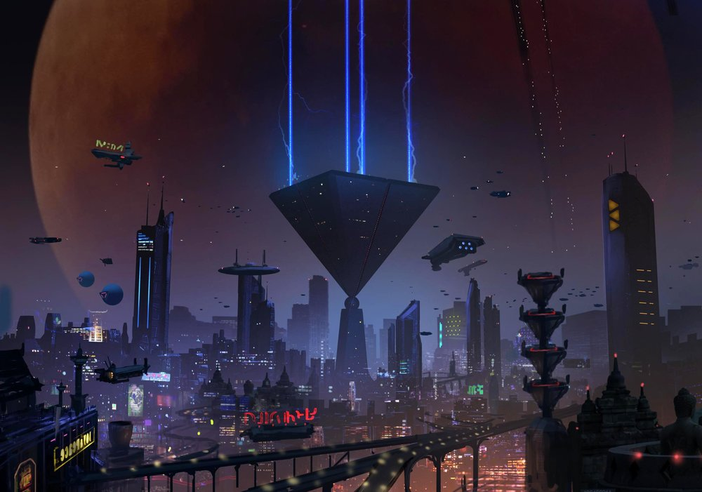 A concept painting I created early on in the development of Neo-Shinjuku. Jim Dargie came up with the idea for the inverted pyramid design which emphasizes the domineering presence of Eden Corp headquarters.