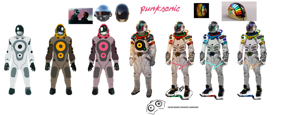 Some early player character designs, heavily inspired by retro space suits and electronica.