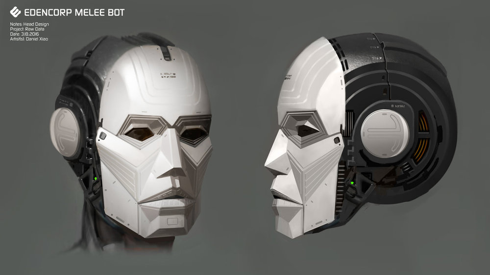 Robot head design for  Raw Data (2017) .