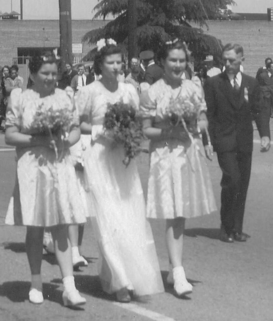 1939 Festival Queen - Katherine Telles Cesarie   Sidemaids - Bernardine Francis Sa & Eva Jason