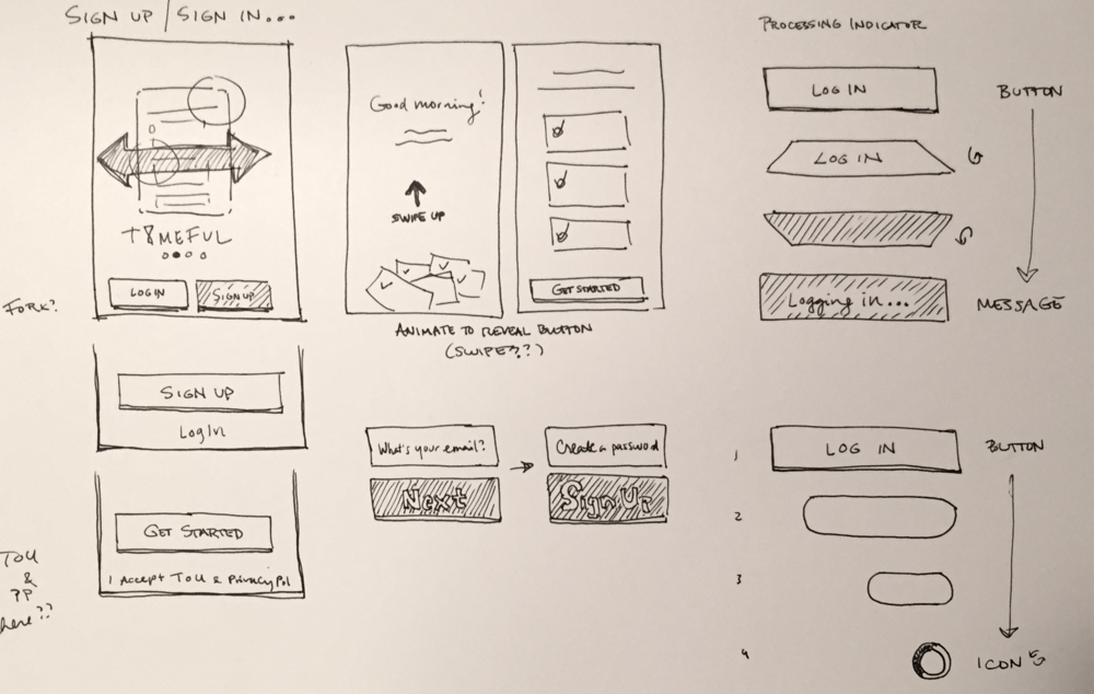 Quick onboarding sketches.