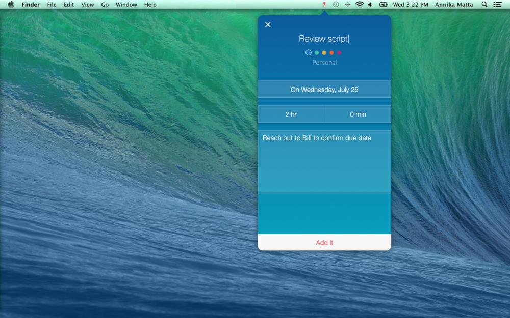 Timeful's beta web app adapted as a desktop app.