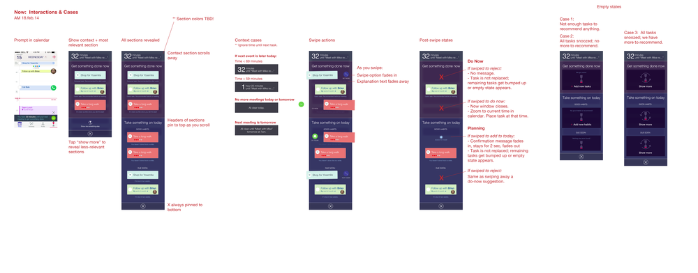 Here's an overview of what the spec looked like. It covers how to access Now from the calendar, how to swipe cards left/right to act on them, and empty states. I worked with an engineer to hone the physics of swiping objects around.