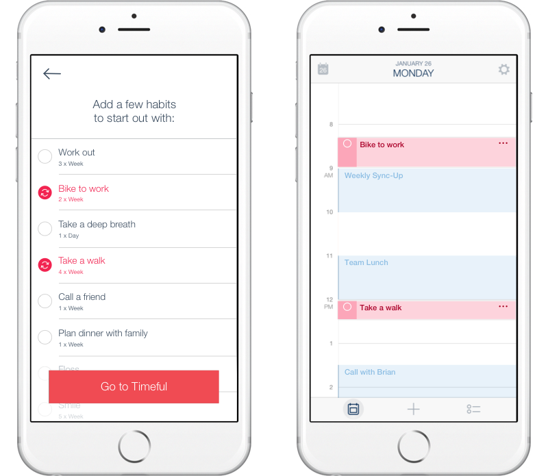 Habits selected in onboarding are automatically planned out across the user's calendar.