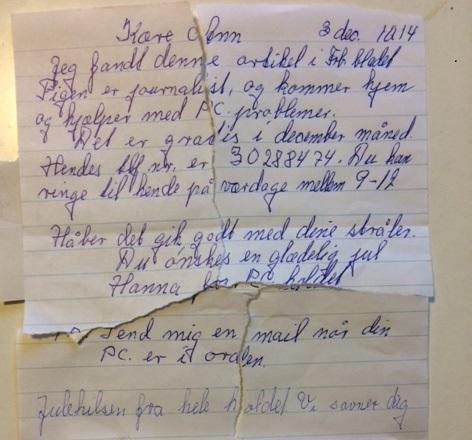 (Modtageren, Ann, havde egentlig kasseret brevet, men reddededet frapapirkurven så jeg fik det at se.)