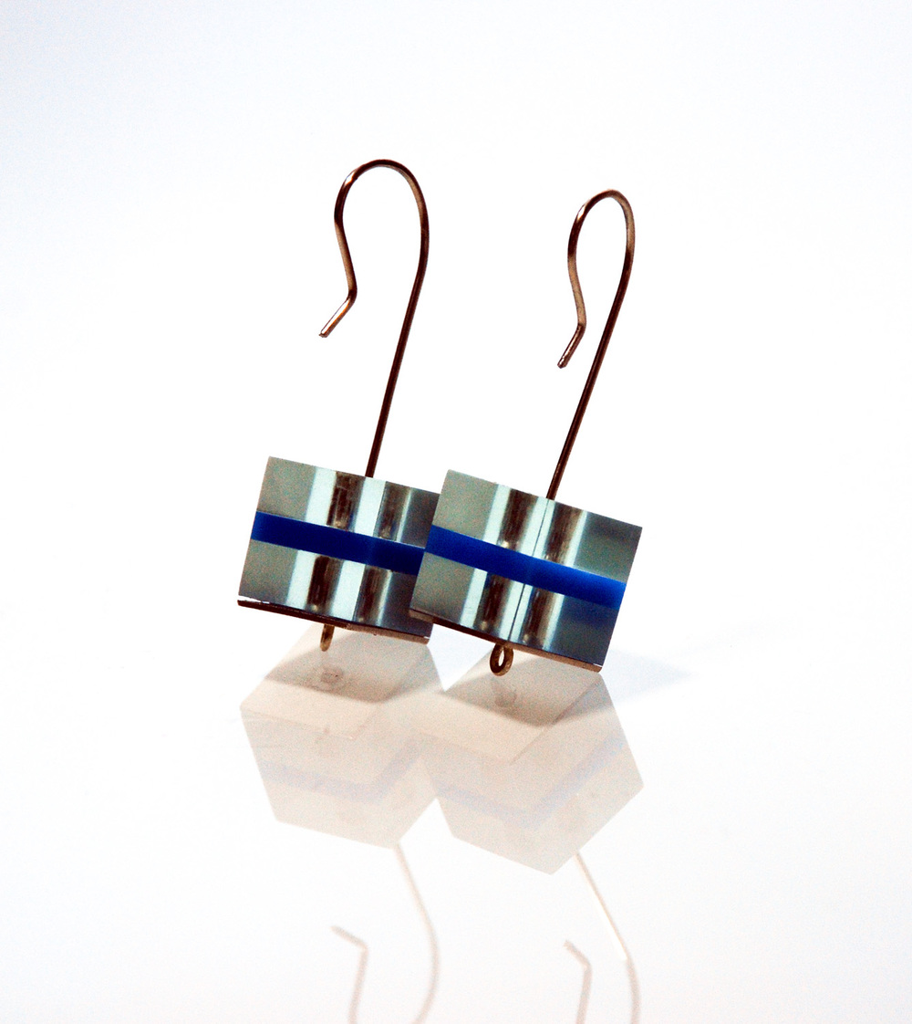 Cube (Drop) Earrings.  13mm x 13mm. Long silver & Plexiglas earrings on silver wire. €120