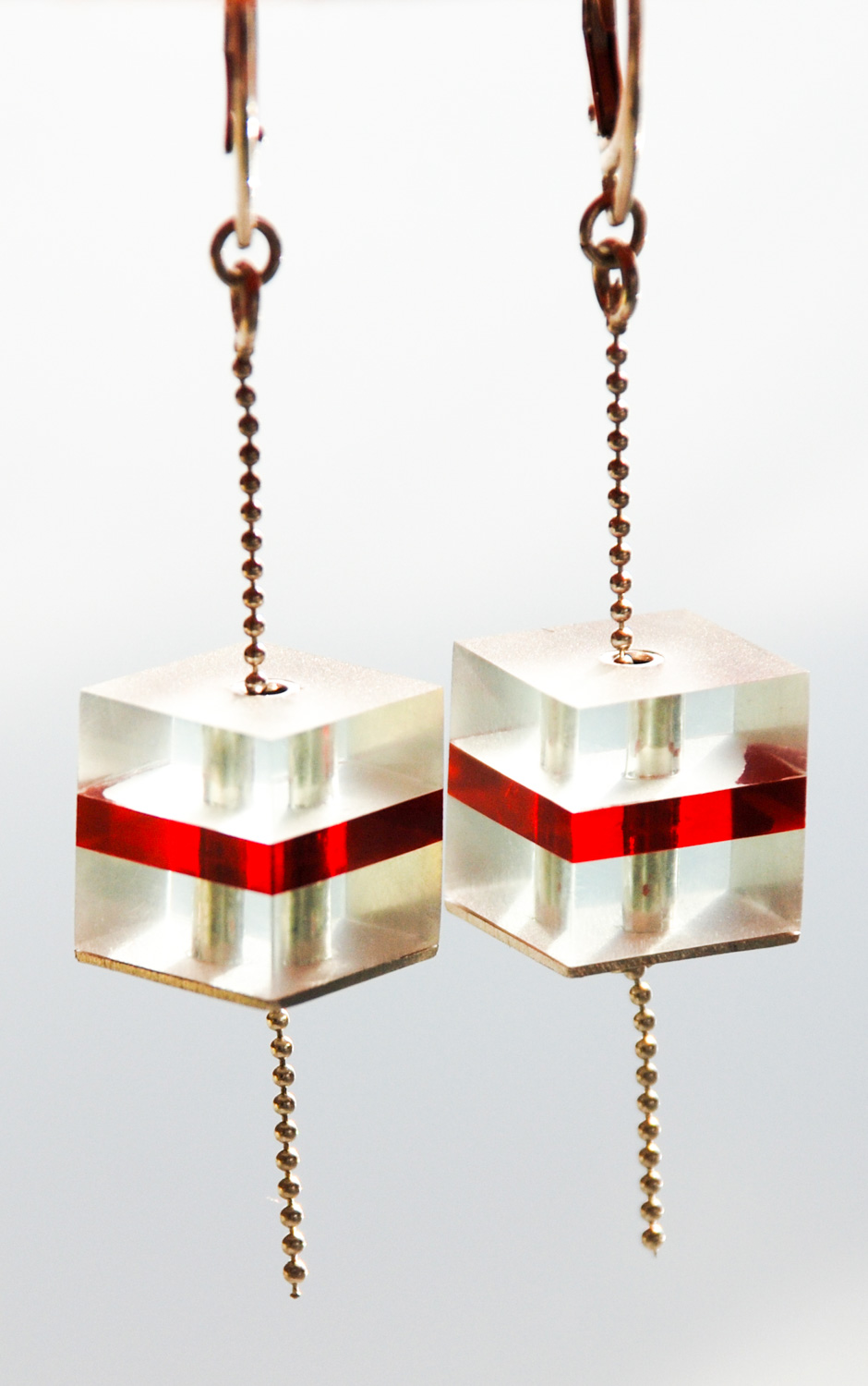 Cube (Drop) Earrings.  13mm x 13mm. Long silver & Plexiglas earrings on silver chain. €120