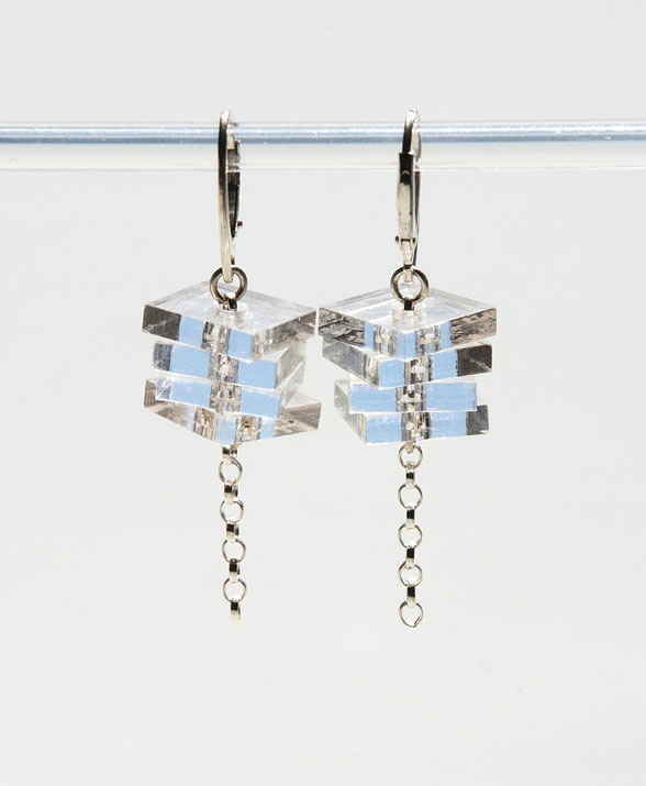 Small drop earrings.    Plexiglas squares on silver belcher chain.   €40.00