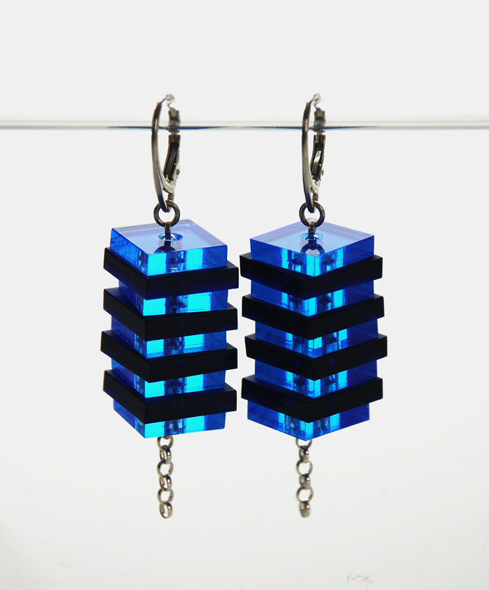 Large drop earrings. Plexiglas 13&15mm squares on silver belcher chain.  €60