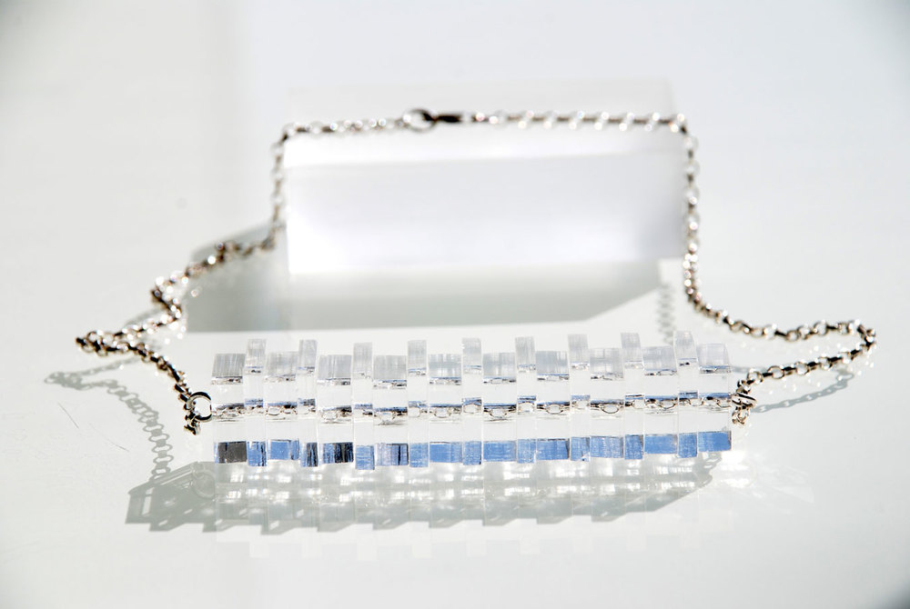 Horizontal Necklace.    Silver Belcher chain & 13/15mm Plexiglas.   €75.00