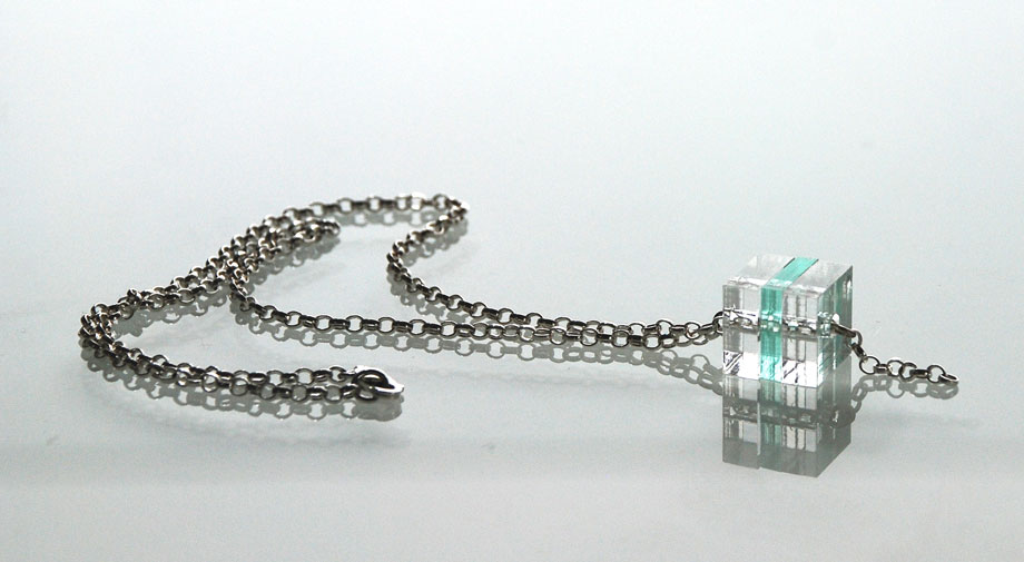 Small Cube Necklace.    Plexiglas and silver belcher chain.   €60.00