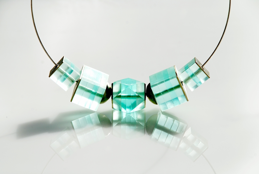 Glow Collection. Ice cube necklace. Silver and Plexiglas..jpg