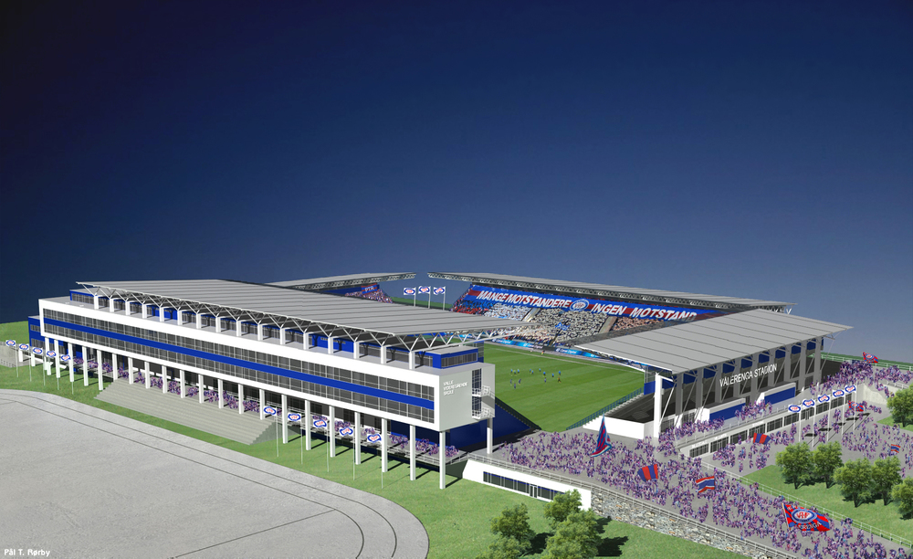 Vålerenga stadion / Valle videregående skole sett fra syd - visualisering av Biong arkitekter AS