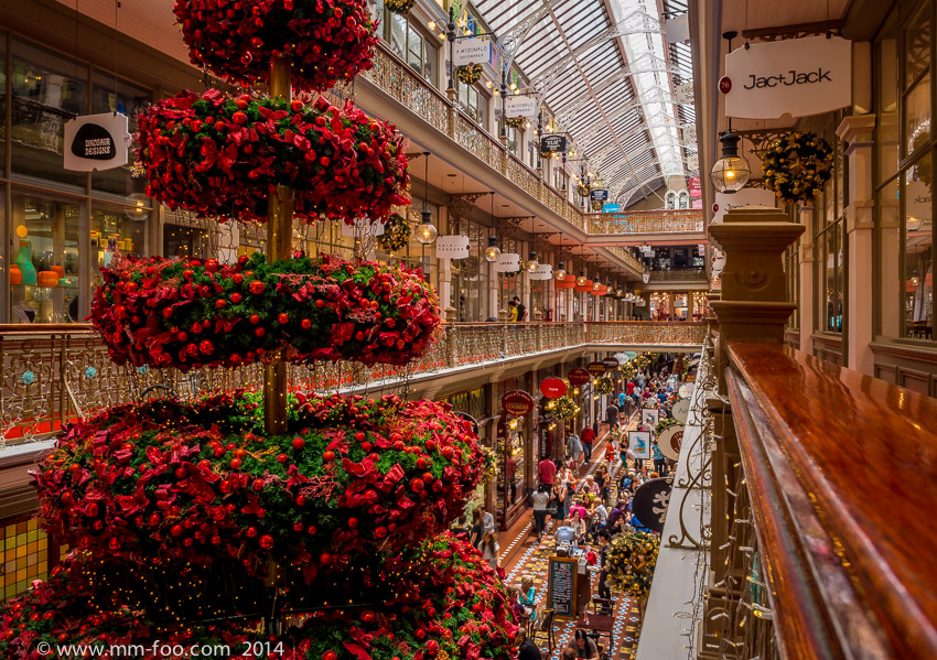 Photo Taken: The Strand Arcade with a Christmas Tee. 1/10 sec, 12mm, f/8.0, ISO500.