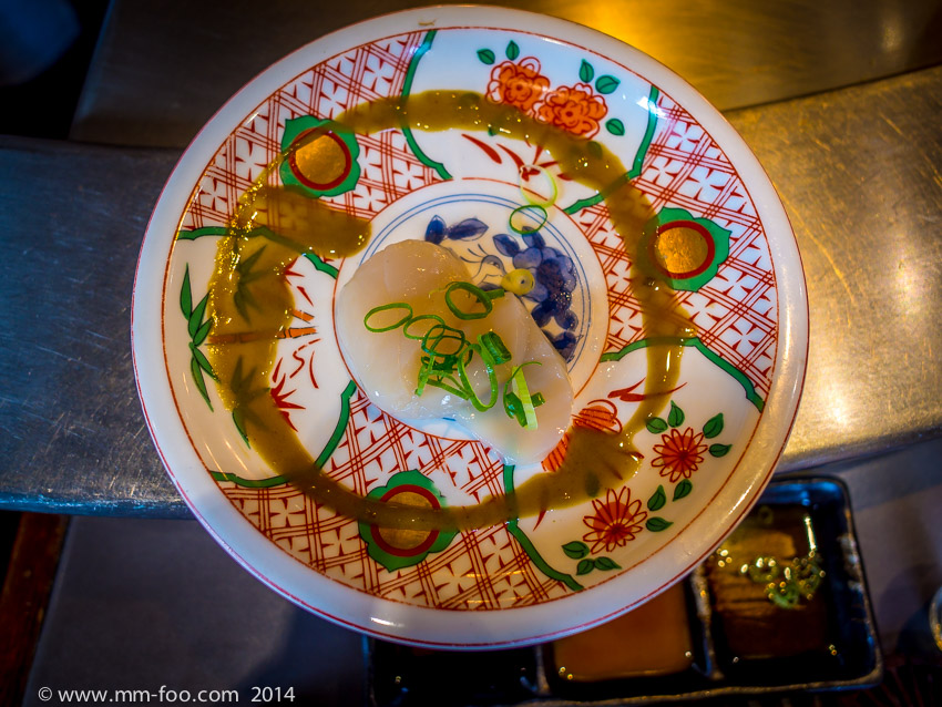 1/25 sec, 12mm, f/2.5, ISO100 Scallop Sashimi served with a Wasabi Sauce and topped with Olive Oil