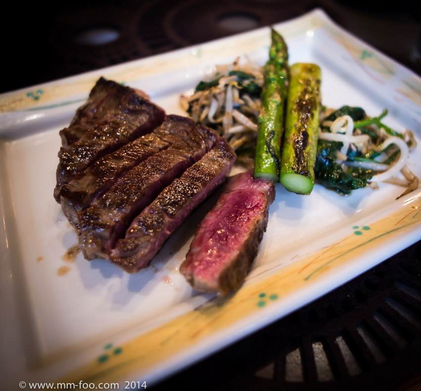 1/20 sec, 12mm, f/2.0, ISO500. Wagyu No. 6 Medium Rare served with grilled asparagus, spinach and beansprouts.