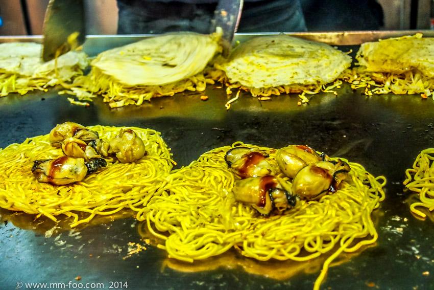 Oysters on the okonomiyaki.
