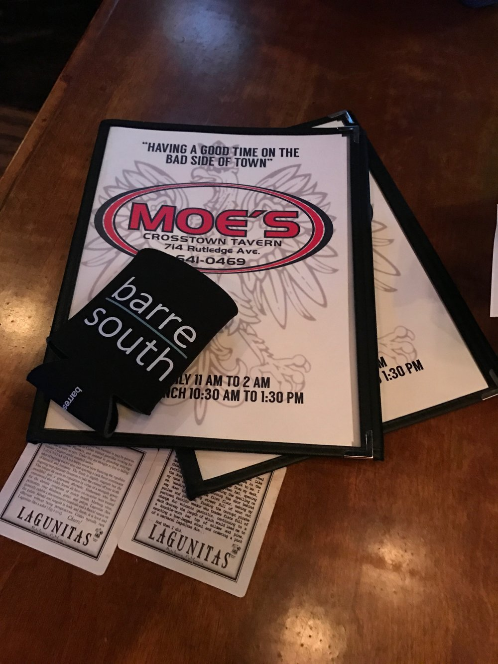 Barre South Moes Menu