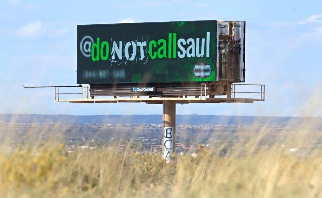 A billboard for Do not call Saul along I-25 near downtown Albuquerque, photographed on Monday October 20, 2014. (Dean Hanson/Albuquerque Journal)