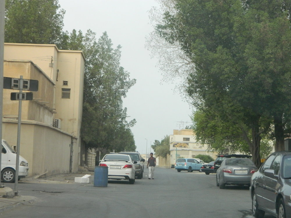 a snap of some inside street in one of the Saudi neighborhoods. Look at the cars, aren't they just average?
