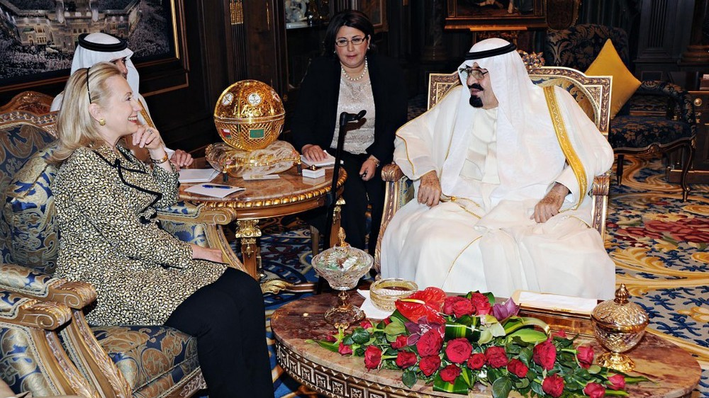 Saudi King With Clinton
