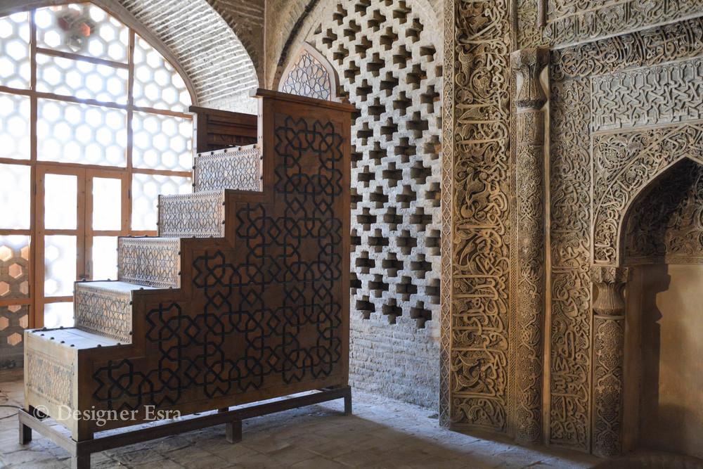Historic Pulpit of Jameh Mosque of Esfahan المنبر في مسجد جامع اصفهان
