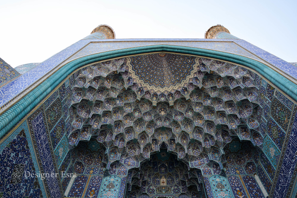 The beautiful Muqarnas in Shah (Imam-i) Mosque in Esfahan