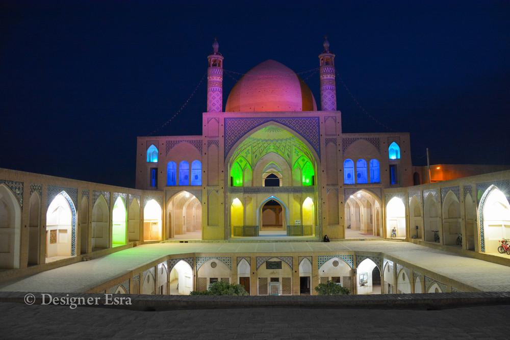 Agha Bozorg Mosque in Kashan, Iran at night