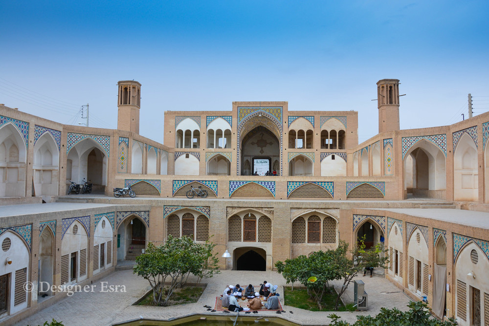Agha Bozorg Courtyard in Kashan, Iran at night