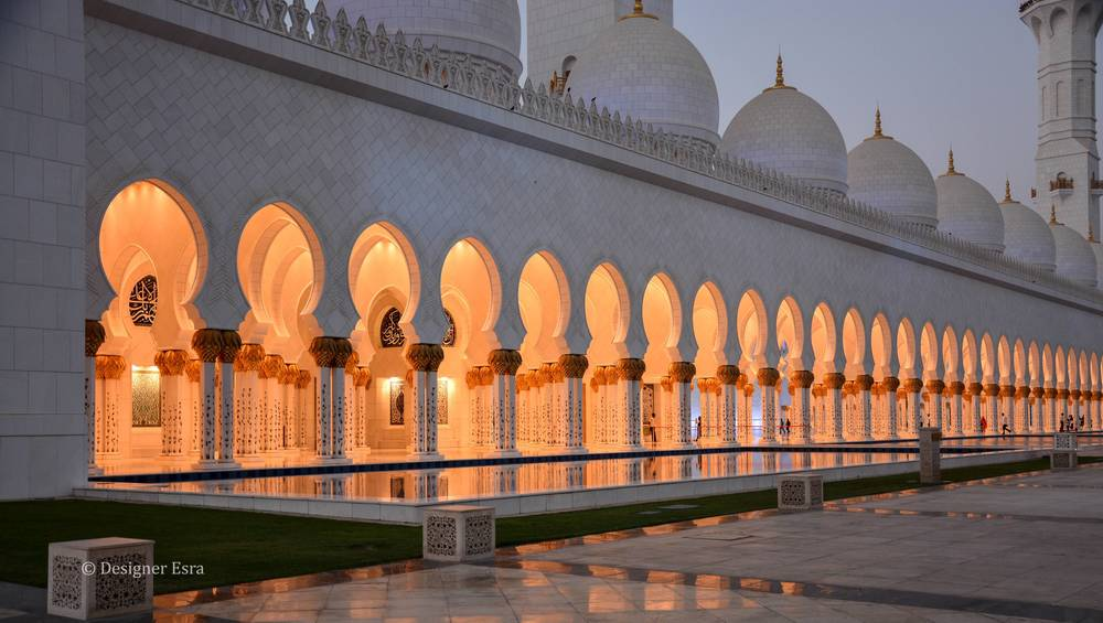 Sheikh Zayed Grand Mosque's white arches and domes