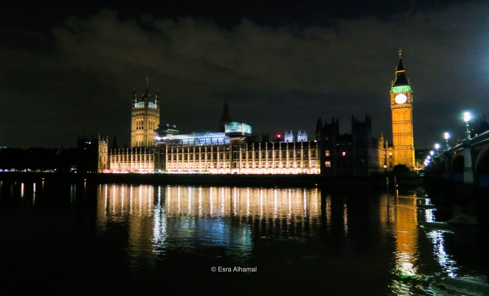 Big Ben and Westminster with water reflection