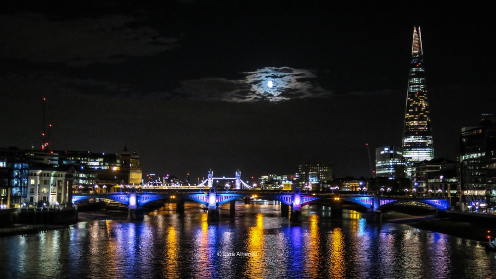 Full moon and the Shard in London