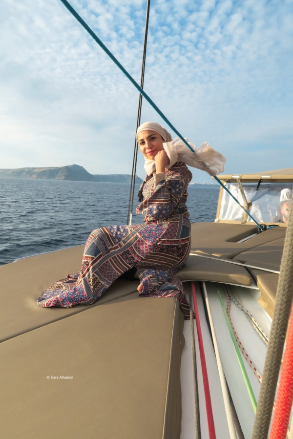 Maxi dress and hijab on a boat trip