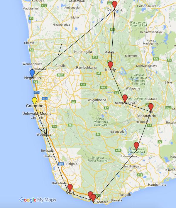 مسار رحلة سريلانكا ١٢ يوم