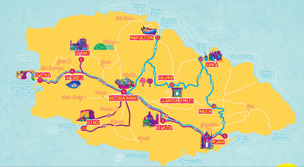 The Hop on an Hop off Bus in Gozo Route Map