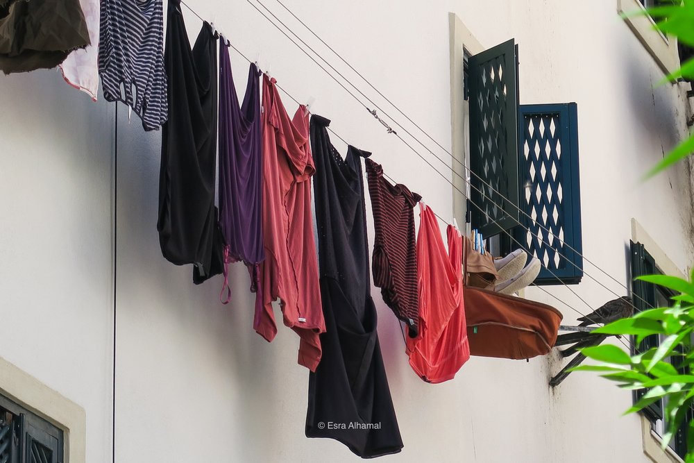 Colourful Clothes hung in Lisbon