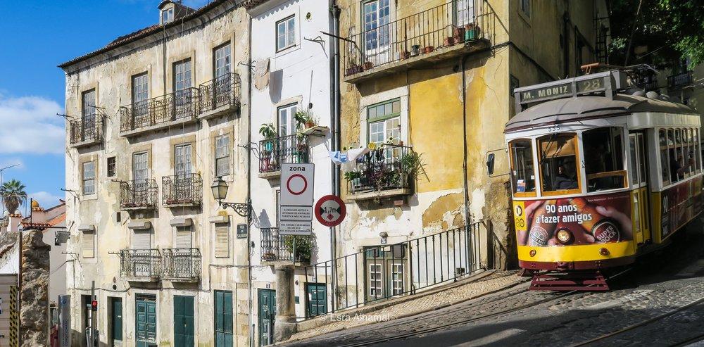 Spotting the famous 28 tram in Lisbon