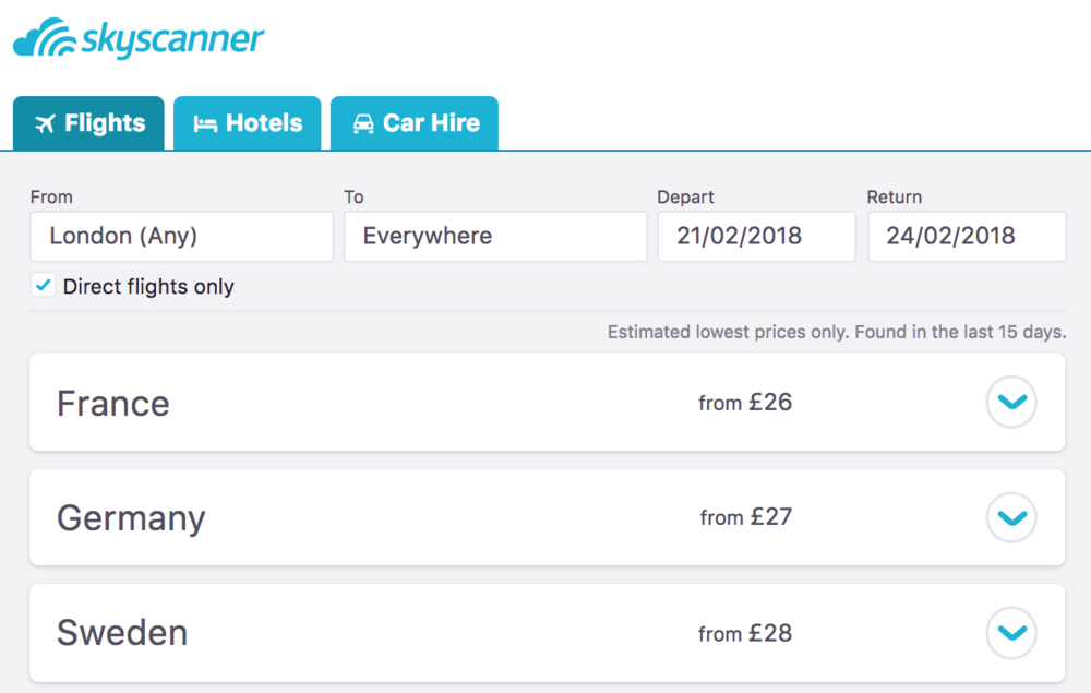 Everywhere Search on Skyscanner